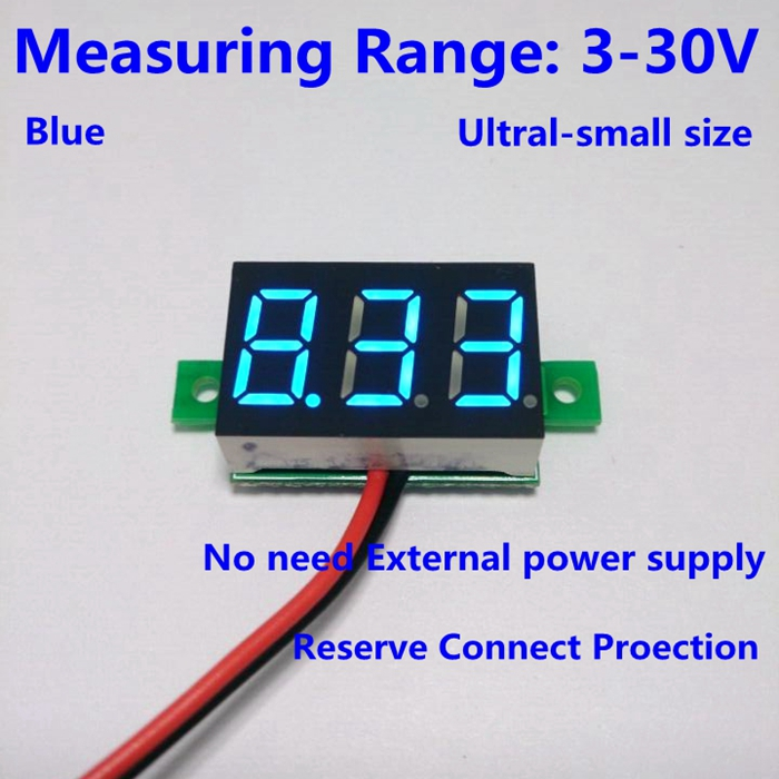 Free shipping 1PCS DC 3-30V Blue led car digital volt voltage panel meter gauge auto voltmeter battery monitor(China (Mainland))