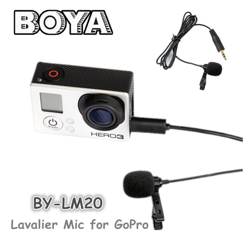 BOYA BY-LM20 35Hz ~ 18KHz Omni Directional Condenser Microphone for GoPro Hero 4 2 3 3+ 3.5mm plug, Mini USB plug(China (Mainland))