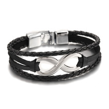 2016 New Arrival Silver plated Infinity Bracelet Bangle Genuine Leather Hand Chain Buckle friendship men women bracelet(China (Mainland))