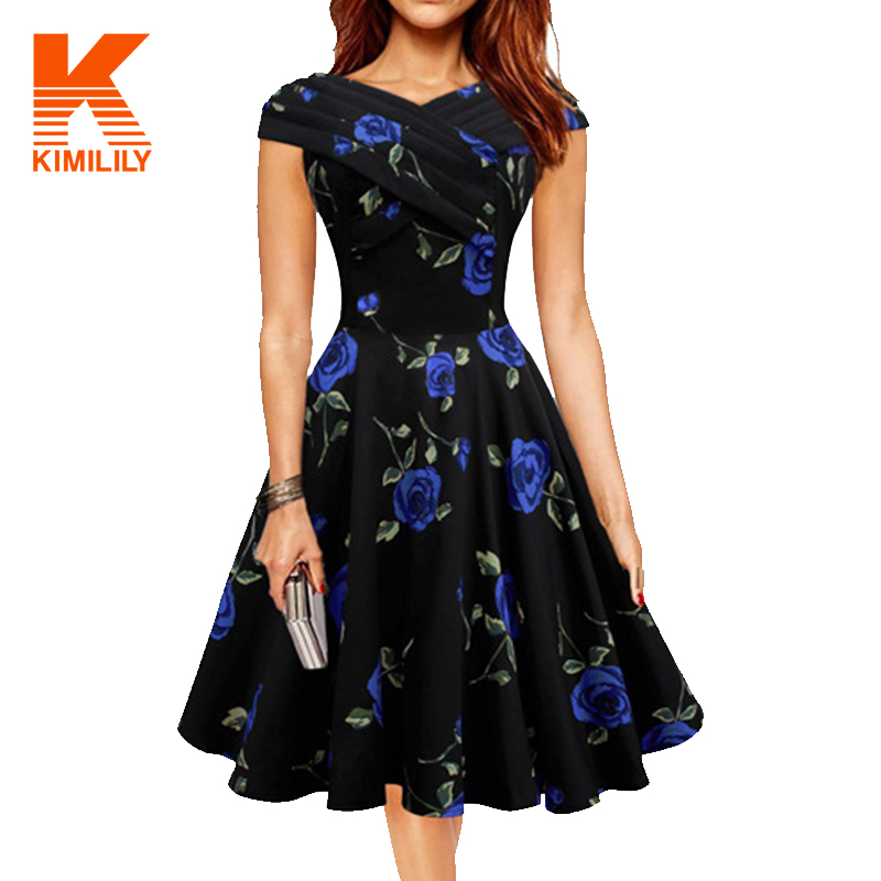 2016 women fashion casual floral dress womens short elegant rockabilly party office dresses. Black Bedroom Furniture Sets. Home Design Ideas