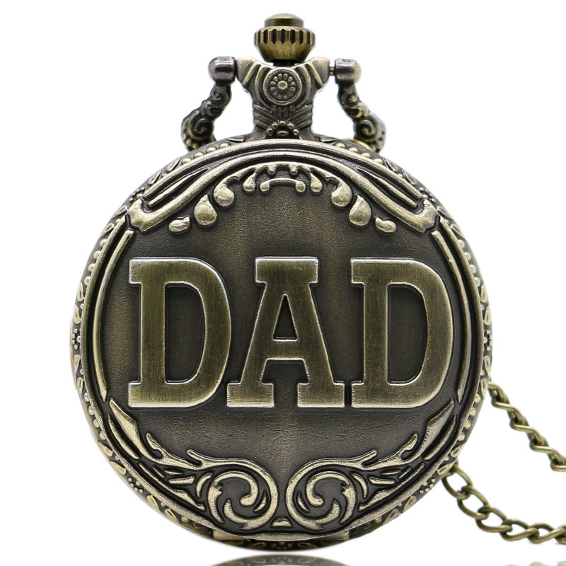 Antique Bronze Dad Pattern Quartz Pocket Watch with Necklace Fob Watch Father's Day Gift(China (Mainland))