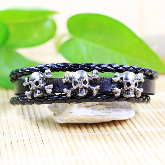 CB3- handmade rock skeleton bangles ethnic tribal zinc alloy black leather bracelets mens - SunFlower Trade Co.,Ltd store