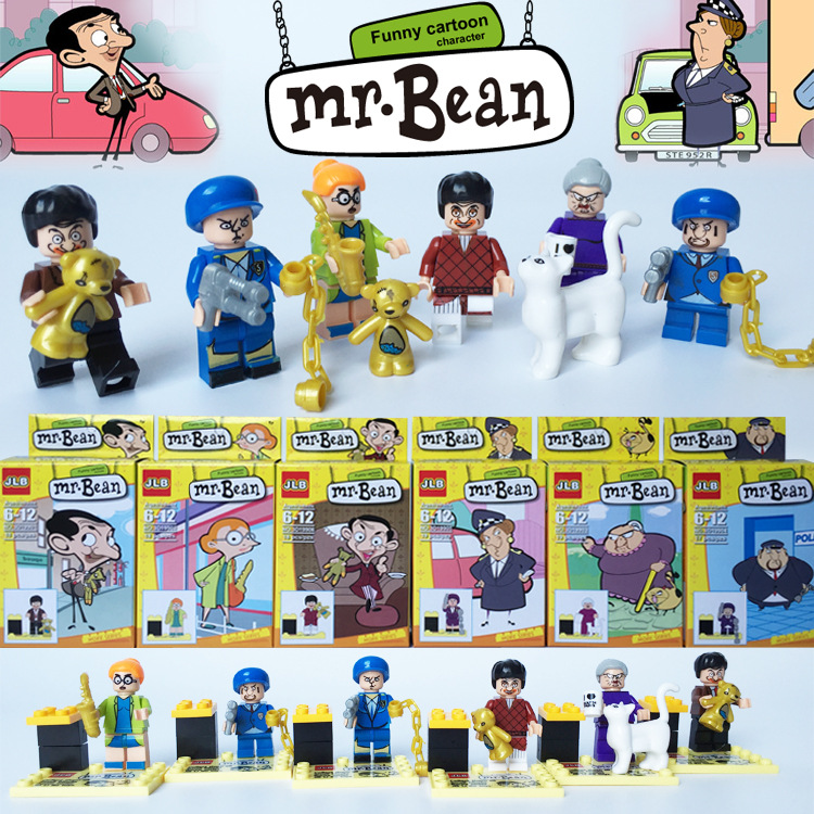 JLB Mr Bean 6pcs lot Funny Cartoon font b Anime b font Action Figures Minifigures Building