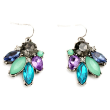 2016 New  Fashion Vintage Earrings Blue Flower Silver Color Alloy Earrings For Women Charm Brand Jewelry Dress Accessories(China (Mainland))