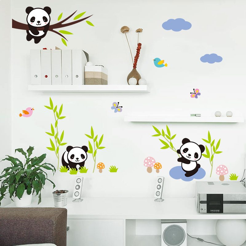 Cartoon Forest Panda Bamboo Birds Tree Wall Stickers For Kids Room Baby Nursery Room Decor