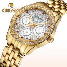 2015 Kingsky diamante 3 diales oro reloj pulsera moda Casual señora reloj de la cadena Rhinestone rojo reloj accesorio femenino