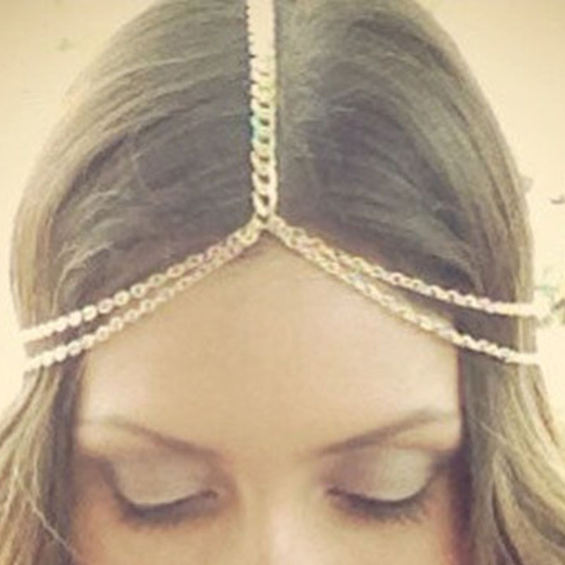 1PCS Women Lady Bohemian Crown Gold Metal Tassel Head Chain Headband Jewelry Headpiece Hair Band Free Shipping(China (Mainland))