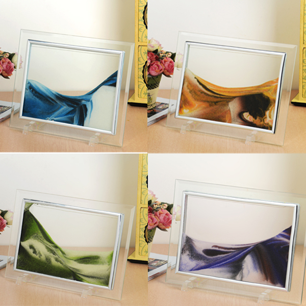 Moving sand glass photo picture frame home desk room decorative figures ornament birthday xmas gift(China (Mainland))