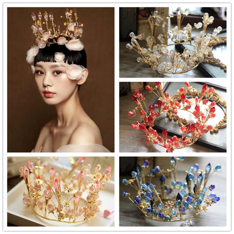 European retro Crystal Flowers Tiara Crown Bridal Wedding Party Headband Headpiece Jewelry Accessories Wedding engagement(China (Mainland))