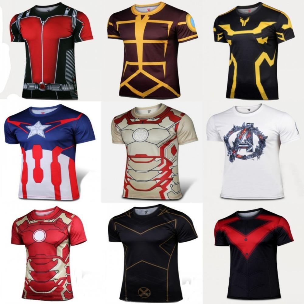 New 2015 Batman Spiderman Ironman Superman Captain America Winter soldier Marvel T shirt Avengers Costume Comics