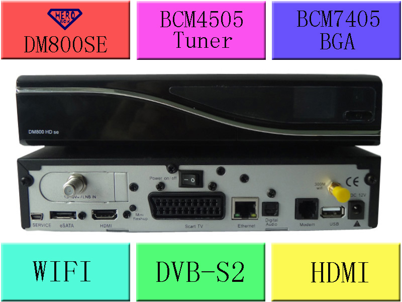10pcs Good quality TV Receiver. DM800se support wifi . The Dream 800se HD box use linux Image. install BCM7358 and DVB-S2(Hong Kong)