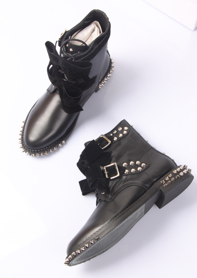 free ship women low square heel comfortable genuine leather spike rivets toe back studs big bowtie lace up ankle fashion boot(China (Mainland))