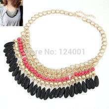 2014 New items Gorgeous Jewelry Acrylic Oval Pendant Statement Multi Link Chains Choker Necklaces & Pendants Wholesale