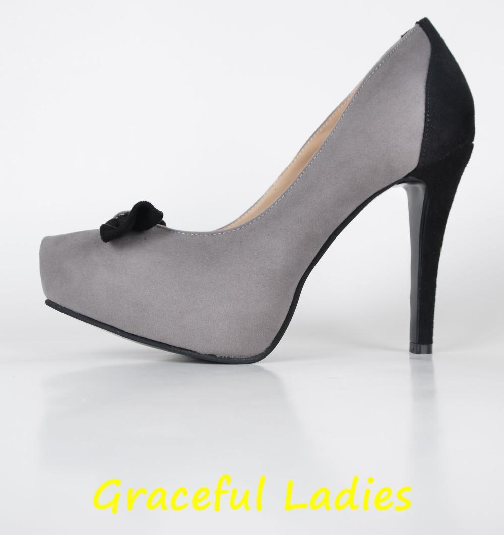 Grey and Black Dress Shoes Stiletto Heel Slip-ons High Heel Pumps Platform Custom Made Designer Women Heel Fashion Handmade Shoe