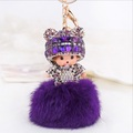 New sleutelhanger Monchichi fur pom pom keychain Crystal Monchhichi Dolls Keyring holder chain Woman bag car