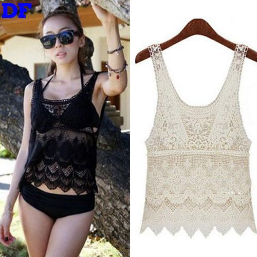 Lace Crochet Blusas Beach Blouse Women 2016 Hot Fashion Blusa Feminina Short Lace Women Tops Blouses Shirt Cheap Clothes China A