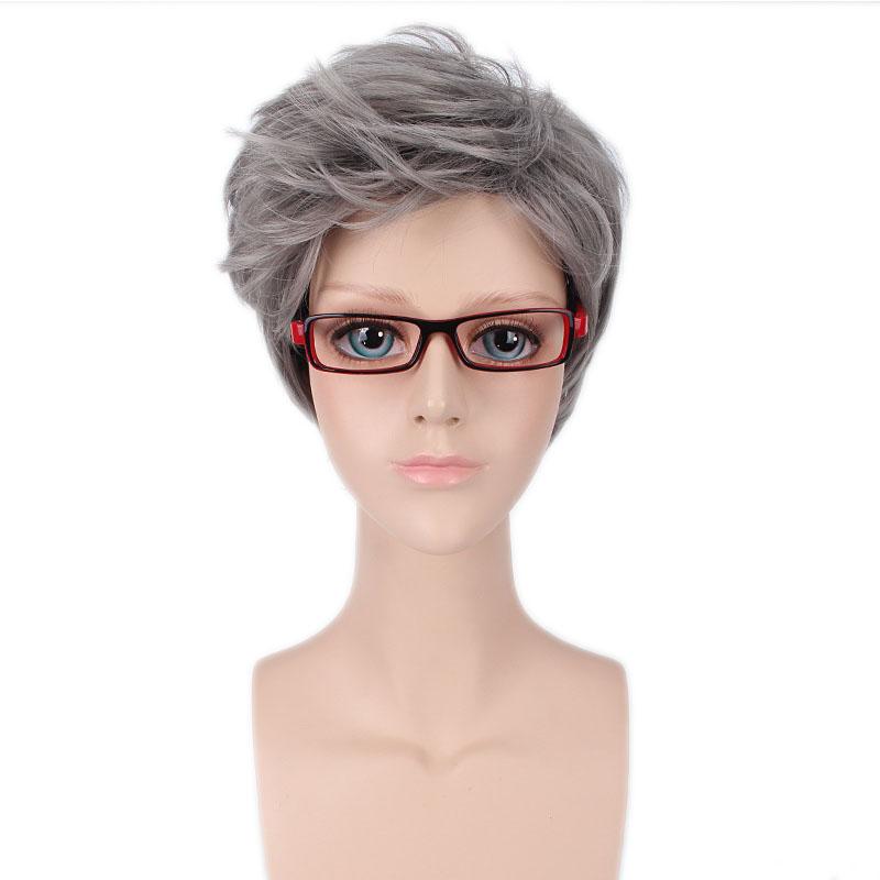 Shumeier Short Gray Man Synthetic Hair Korean Style High Temperature Silver Anime Cosplay Hair Wigs(China (Mainland))