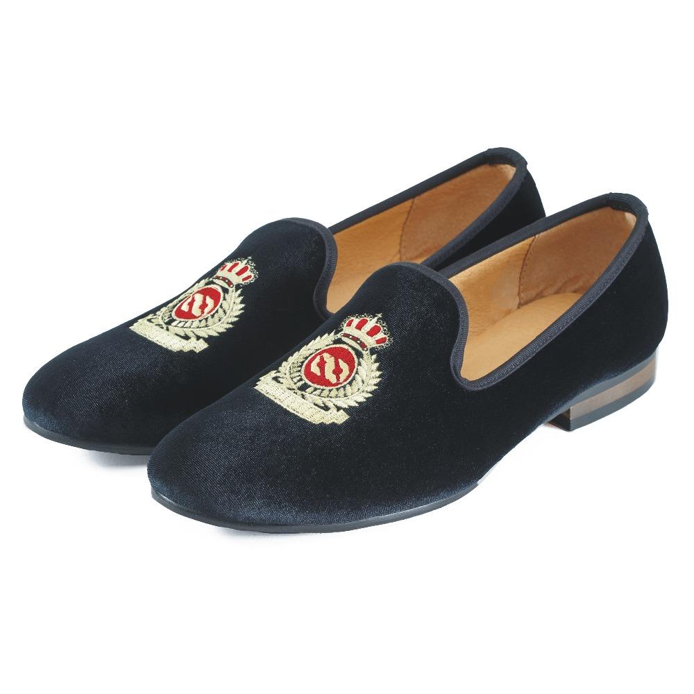 Fashion Men Velvet Dress Shoes Handmade Mens Loafers Crown British Smoking Slippers Men's Flats Plus Size 7-13 - Journey West Shoe Online store