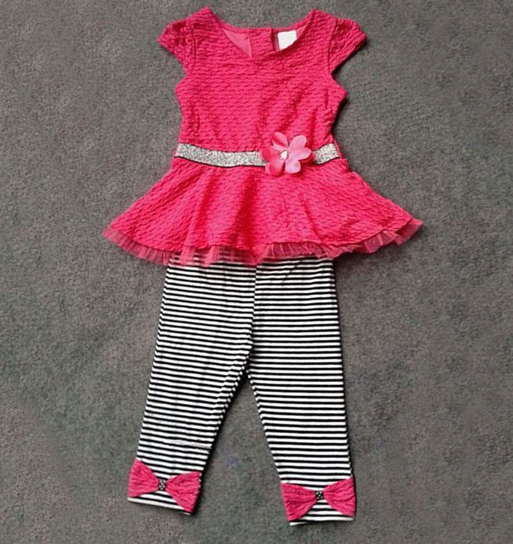 Girls Baby Toddler Kid's Clothes Pink Tops+Striped Leggings Set Outfits 1-7Year Free(China (Mainland))