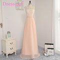 Dressgirl 2016 Cheap Bridesmaid Dresses Under 50 A line See Through Floor Length Coral Chiffon Lace