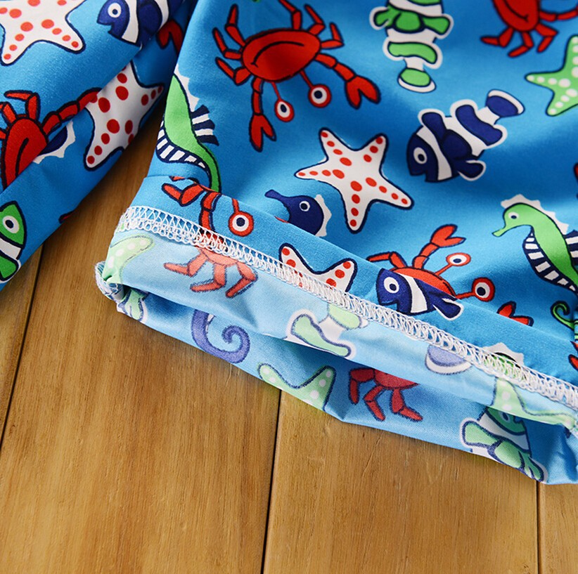 boys swimwear color blue hippocampus crab  pattern fit 2-3Y/90-98cm boys swimming trunks kid/children st08