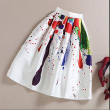 Plus Size XXXL Painting graffiti print Pleated Skirt High Waist Midi Skirts Faldas Mujer Elegant Skirts Maxi Skirts For Women