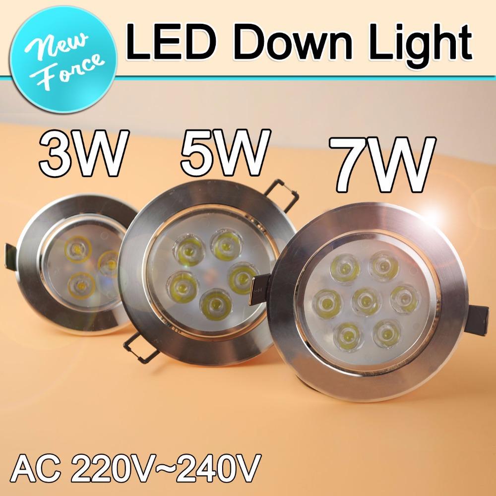 Гаджет  1PCS 3W 5W 7W LED Ceiling Downlight Recessed LED Spot light AC85-265V with driver Alluminum led lamp lights home lighting  None Свет и освещение