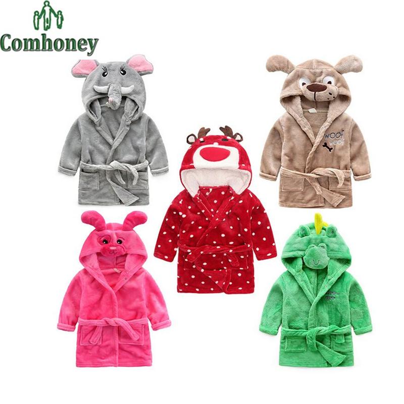 Baby Bathrobe Christmas Reindeer Children's Bathrobe for Kids Cartoon Animal Girl Boy Beach Bath Robe Poncho Hooded Towel Pajama(China (Mainland))