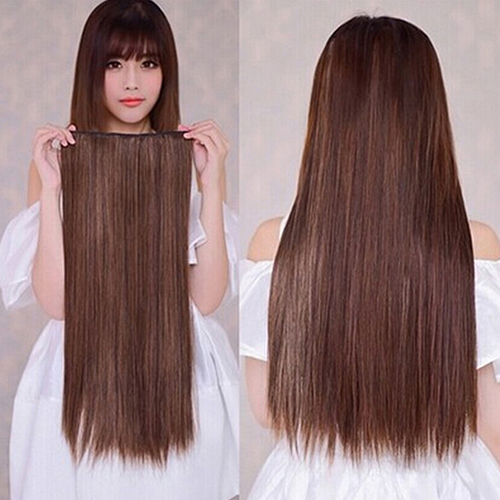 Гаджет  Fashion 3/4 Full Head Clip in Hair Extensions Long Straight Style with 5 Clips  None Волосы и аксессуары