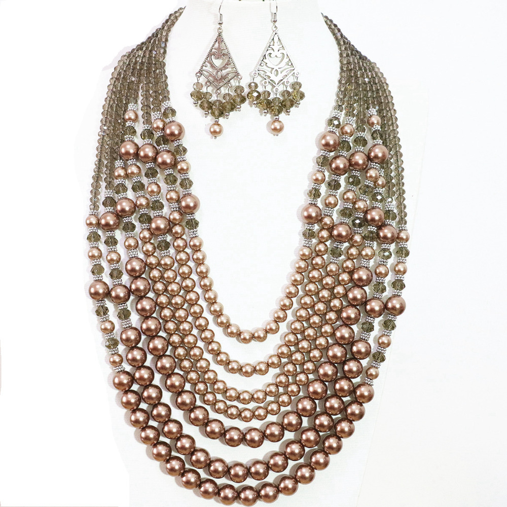 Newly 7 Rows Necklace Earrings Champagne Round Faux Shell Pearl Charms  Party Weddings Women Fashion Jewelry