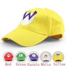 5 colors Super Mario baseball Hat Cap Adjustable Mario Luigi Wario Waluigi Baseball Hat Kid'd Caps(China (Mainland))