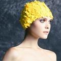 Vintage Women Girls Handmade Floral Petal Swimming Cap Nylon Pure Color Flower Swimming Hat New Bathing