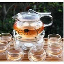 1 Arabian style glass teapot 450ml+6 double wall tea cups +1 heating base 8pcs/set free shipping