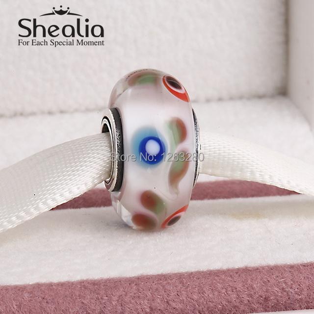 2015 Новый подлинный стерлингового серебра 925 синий красный и зеленый фольклор муранского стекла бусы подходит известного бренда diy шарм браслеты Ht311