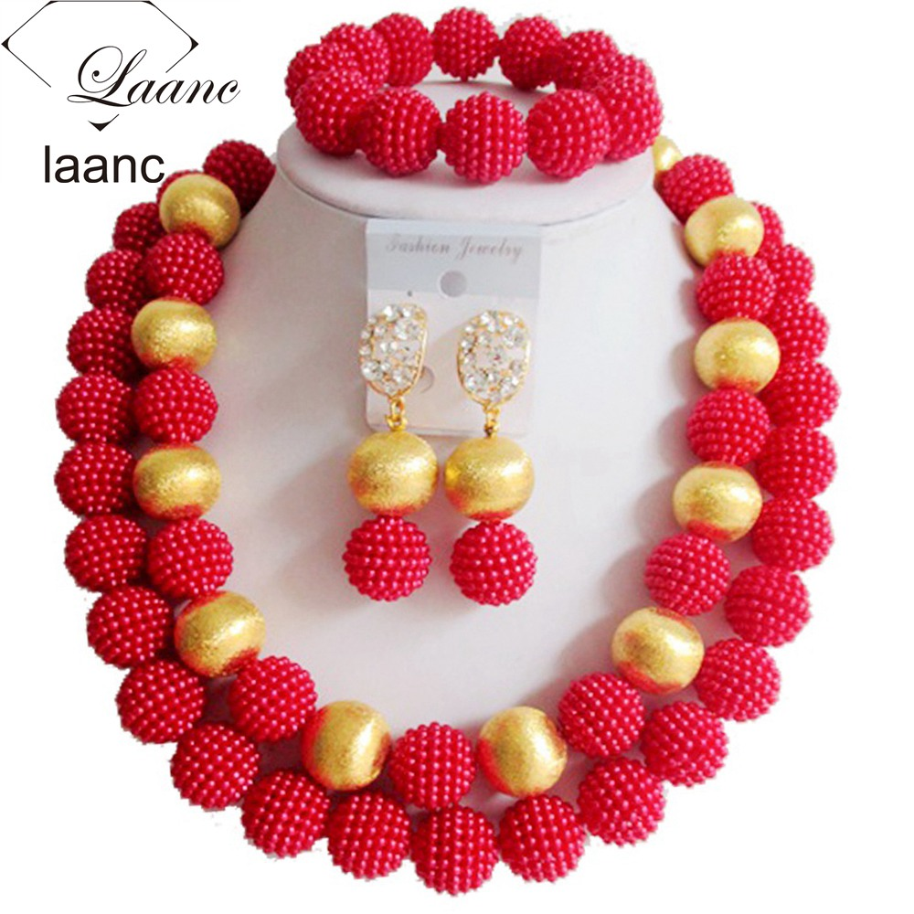 Laanc African Beads Jewelry Sets Women Wedding Red Plastic Pearl Gold  Finding G011(china (