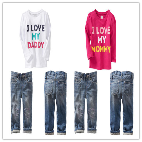 High Quality 2014 New Summer boys girls long sleeve i love my daddy mommy t shirt + jeans 2pcs sets Children casual clothing<br><br>Aliexpress