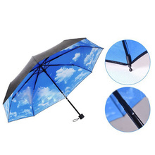 Fantastic Multi-function Anti-uv Sun Protection Umbrella Blue Sky White Cloud 3 Folding Gift Sunny Rainy Umbrellas For Women(China (Mainland))
