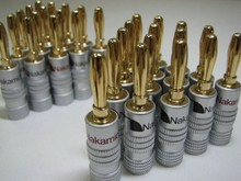 10pcs/lot New High quality 24K Gold Nakamichi Speaker Banana Plugs pure copper Audio Jack Connector Free Drop Shipping(China (Mainland))
