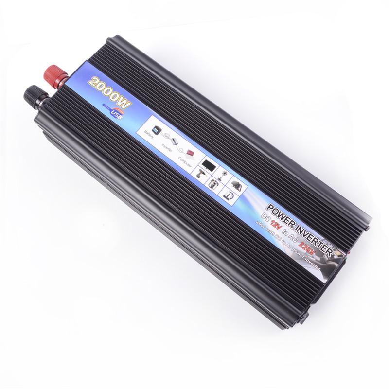 Black 2000W Car Vehicle USB DC 12V to AC 220V Power Inverter Adapter Converter(China (Mainland))