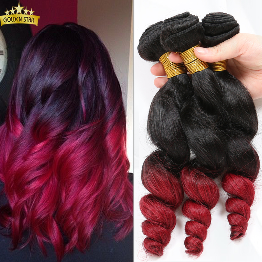 Brazilian Loose Wave Wavy Natural 1B/ Burgundy 3pcs Two Tones Unprocessed Human Hair Extensions Virgin Ombre Hair Extensions<br><br>Aliexpress