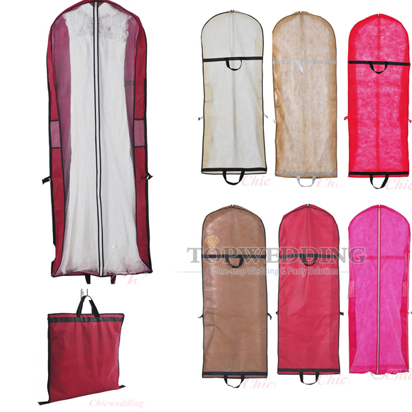 6 color wedding bridal gown garment bags prom party dress for Storing wedding dress in garment bag