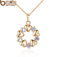 BAMOER Luxury Gold Color Heart Necklaces & Pendants with AAA Zircon For Women Anniversary Jewelry JIN018(China (Mainland))