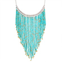 100% Handmade Bohemian Style Long Tassel Fashion Jewelry Turquoise Color Beads Pendant Statement Necklace XL5180(China (Mainland))
