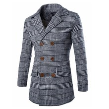 New 2015 Fashion Winter Jacket Men Slim Grid Plaid Coat Manteau Homme Casual Lapel Woolen Trench Coat Double Breasted Jacket(China (Mainland))