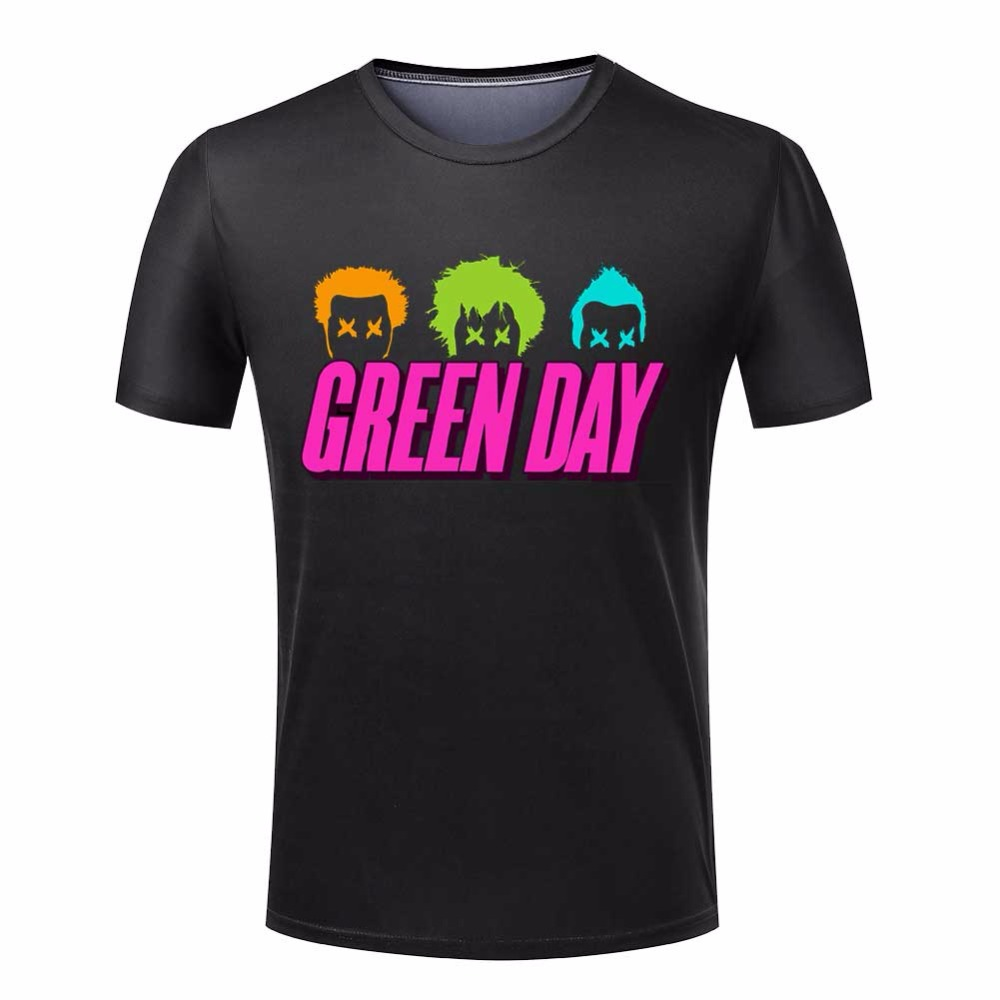 Fashion T Shirts green day Mens Tees Tops Short Sleeve Crew Neck T shirts Men Euro size Fashion trend 3D T-Shirt Plus Size S-4XL(China (Mainland))