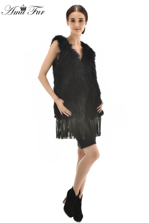 3 Colors New Arrivel Genuine Raccoon Fur Vest With Tassel Fashion Style Raccoon Fur V-Neck Waistcoat Luxury Real Fur Vest