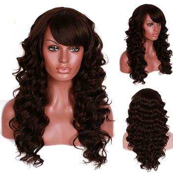 Free Shipping 60cm Fashion Women Lady Synthetic Hair Long Dark Brown Curly Wig