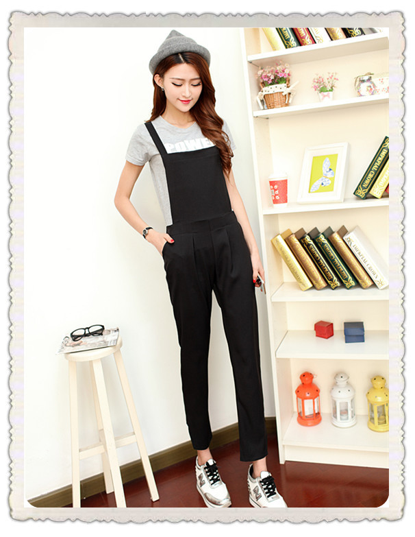 Лето корейский harajuku преппи сплошной цвет персонализированные комбинезон нагрудник брюки женщины
