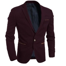 Men's Winter Casual Slim Solid Color Quality Suit Jacket Purple M-2XL(China (Mainland))
