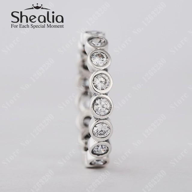 2015 новый очаровательные бриллиант круглой вечность кольца с ясно CZ обручальное кольцо для женщин стерлингового серебра 925 Shealia ювелирных изделий